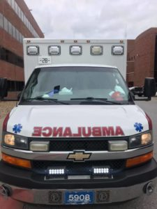 Front view of an ambulance.