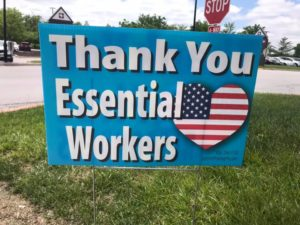 Thank you essential workers sign.