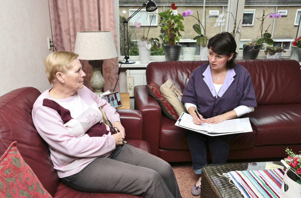 In-home nurse and elderly woman planning.